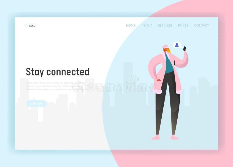 Modello della pagina di atterraggio della rete sociale Carattere della donna che comunica facendo uso di Smartphone per il sito W illustrazione di stock