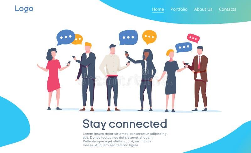 Modello della pagina di atterraggio della rete sociale Gruppo di caratteri dei giovani che chiacchierano facendo uso di Smartphon royalty illustrazione gratis