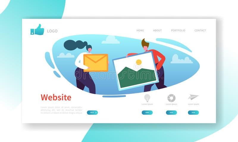 Modello della pagina di atterraggio di sviluppo del sito Web Disposizione mobile di applicazione con i caratteri piani della gent illustrazione vettoriale