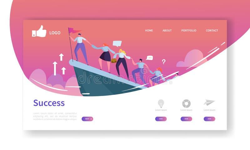 Modello della pagina di atterraggio di sviluppo del sito Web Disposizione mobile di applicazione con l'uomo d'affari piano Leader illustrazione di stock