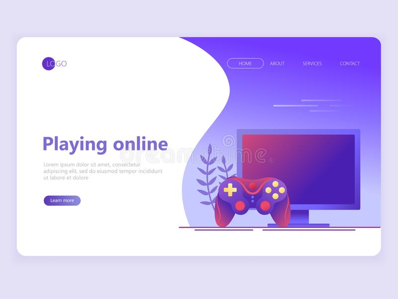 Modello della pagina di atterraggio Video gioco, giochi online Schermo di computer e gamepad Concetti piani dell'illustrazione di illustrazione di stock