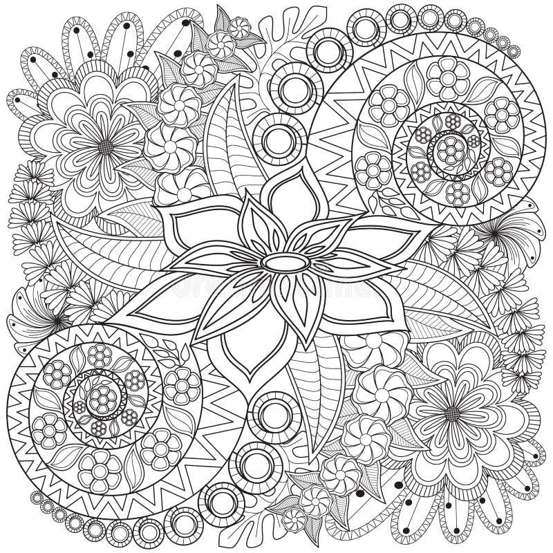 Modello della pagina di coloritura di turbinio del fiore royalty illustrazione gratis
