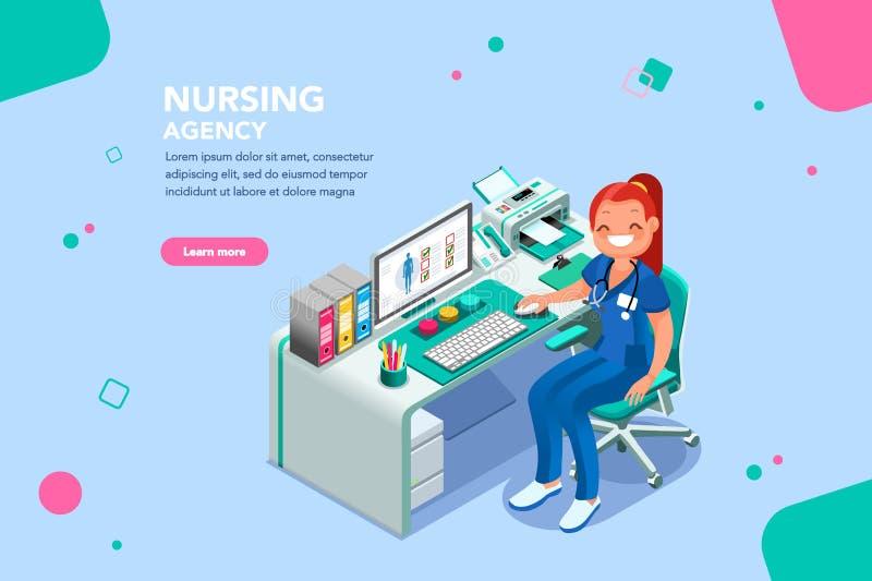 Modello della pagina Web di Agency Exam Patient dell'infermiere illustrazione vettoriale