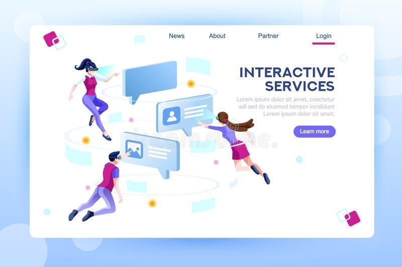 Modello della pagina Web di concetto del mondo virtuale di chiacchierata illustrazione di stock