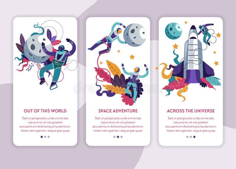 Modello della pagina Web di Internet di viaggio dell'universo di esplorazione spaziale royalty illustrazione gratis