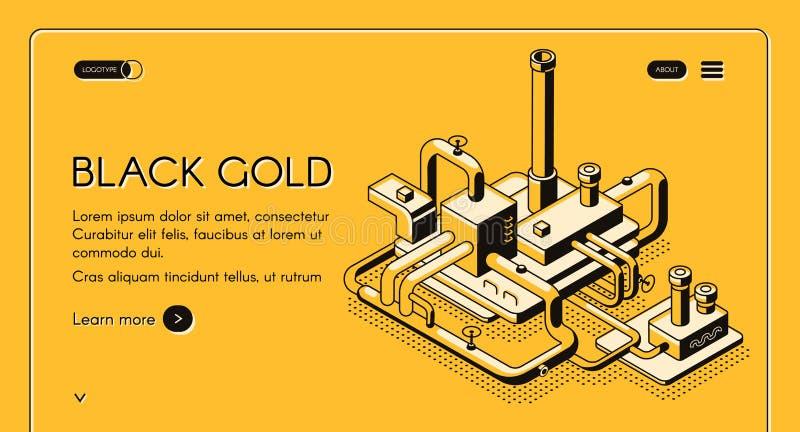Modello della pagina Web di vettore della pianta di raffineria del petrolio royalty illustrazione gratis