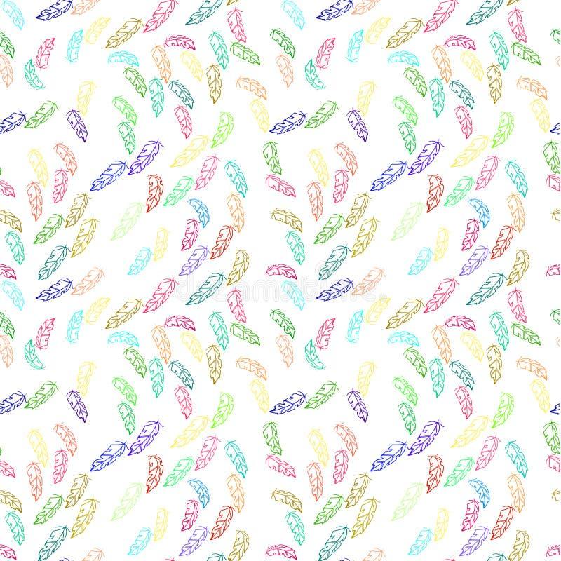 Modello della piuma di Colorfull Progettazione senza cuciture della stampa Profilo differente Ripeti la piuma volante pareti, tes illustrazione di stock