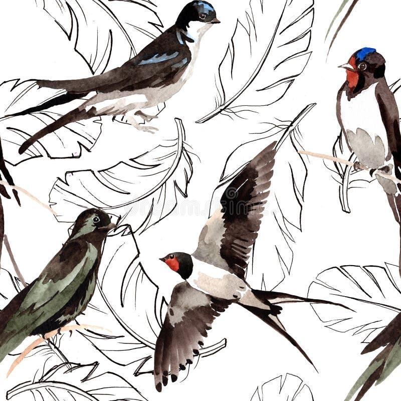 Modello della piuma di uccello dell'acquerello dall'ala illustrazione di stock