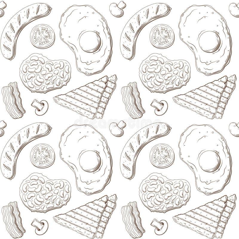 Modello della prima colazione inglese, linee schizzo isolato illustrazione di stock