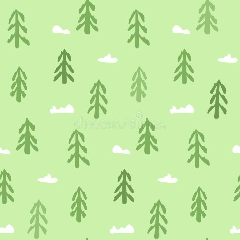 Modello della primavera con gli abeti verdi disegnati a mano illustrazione di stock