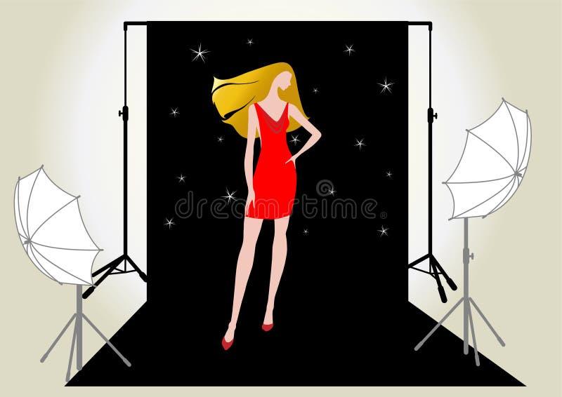 Modello della ragazza nel colore rosso sul tiro di foto illustrazione di stock