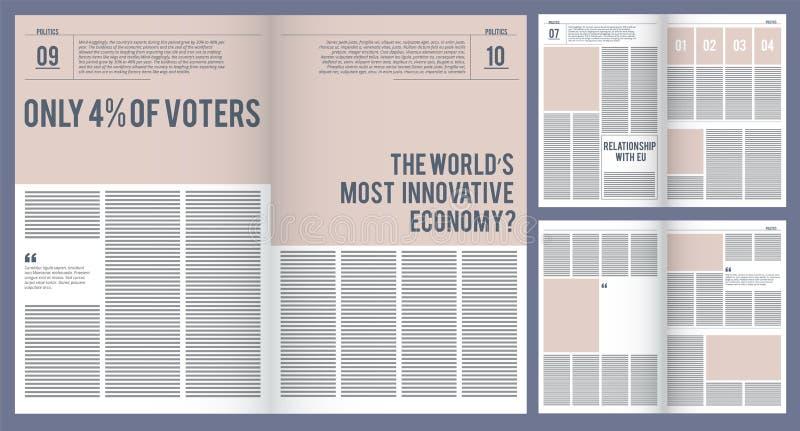 Modello della rivista Area della foto e del posto di copertura dell'impaginazione dell'opuscolo della pubblicità per il modello d illustrazione di stock