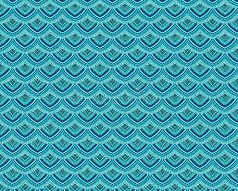 Modello della scala di Teal Repeating Playful Mermaid Fish illustrazione vettoriale