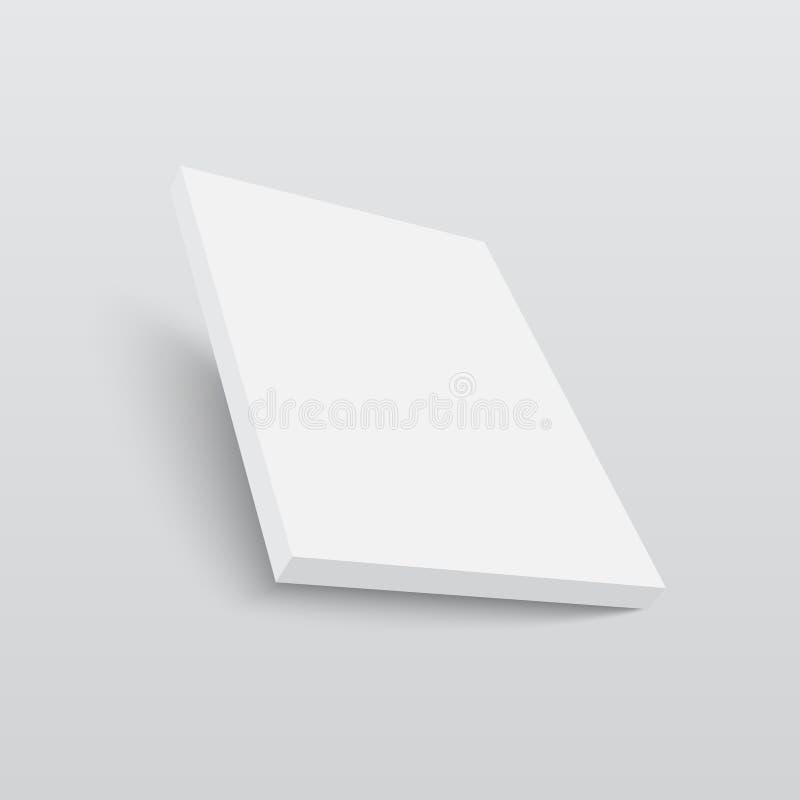 Modello della scatola di cartone o della carta in bianco Illustrazione di vettore illustrazione di stock