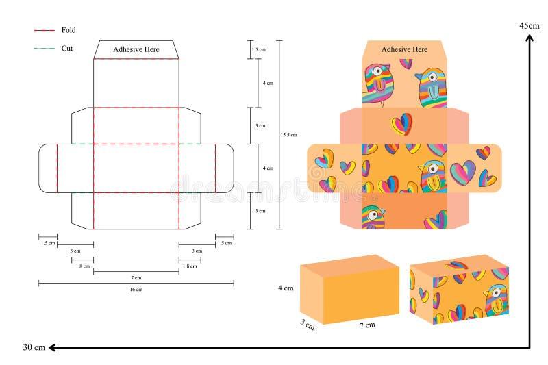 modello della scatola di 7cm 4cm illustrazione di stock