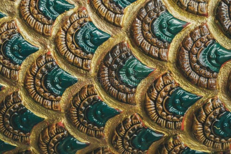 Modello della scultura del serpente in tempio della Tailandia fotografia stock