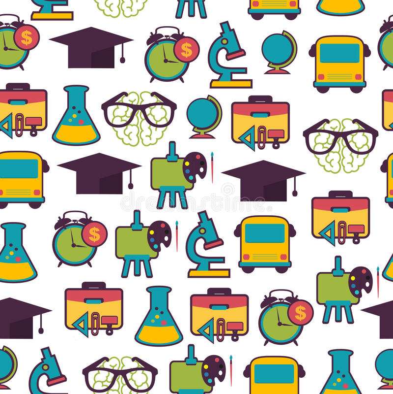 Modello della scuola con le icone variopinte illustrazione di stock