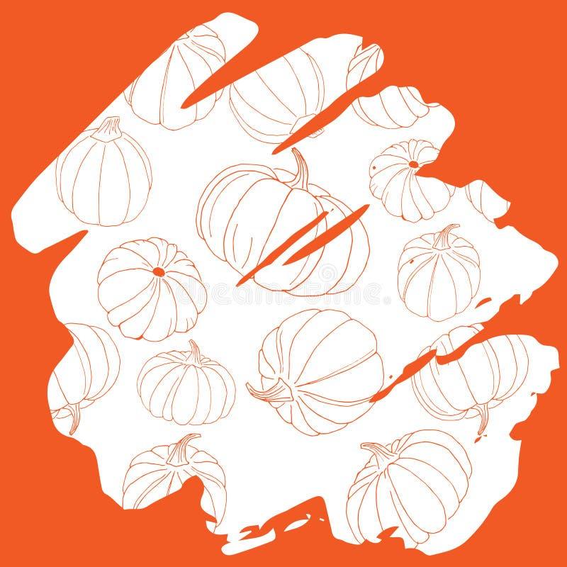 Modello della siluetta della zucca sul handw disegnato a mano del fondo arancio immagini stock
