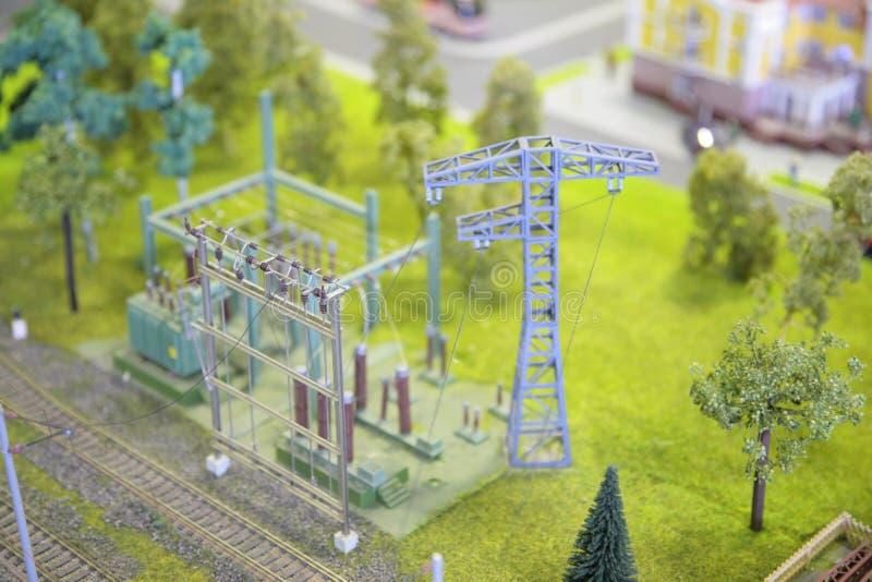 Modello della sottostazione elettrica fotografie stock
