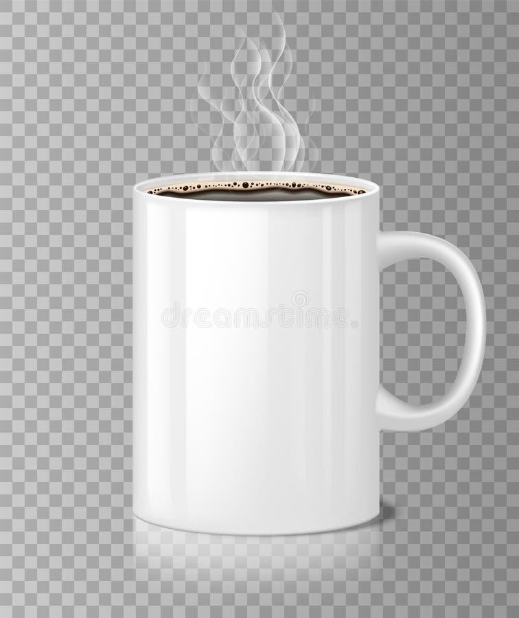 Modello della tazza di tè o del caffè con vapore bianco isolato Caffè nero in tazza ceramica, tazza realistica in bianco di matti royalty illustrazione gratis