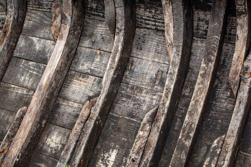 Modello delle costole di legno su una vecchia barca immagine stock libera da diritti