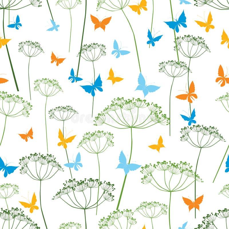 Modello delle farfalle e delle piante umbellate royalty illustrazione gratis
