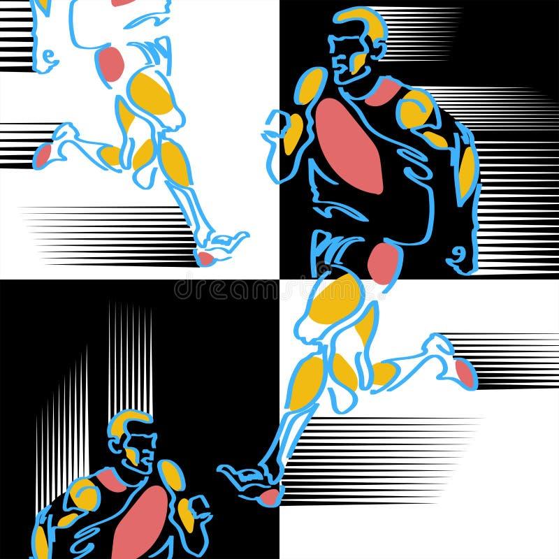 Modello delle figure silized disegnate a mano degli atleti illustrazione vettoriale