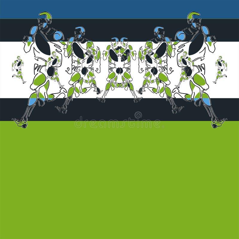 Modello delle figure stilizzate degli atleti che usando passo e zoom illustrazione di stock