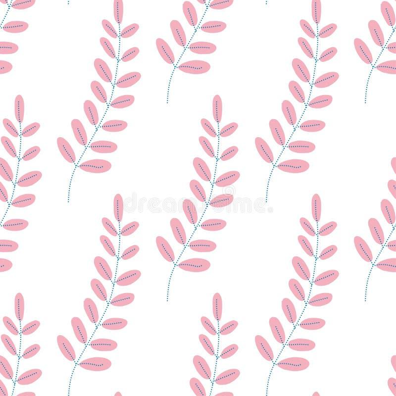 Modello delle foglie Fondo senza fine Senza cuciture nello stile piano illustrazione di stock