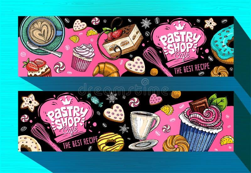 Modello delle insegne del caffè del negozio di pasticceria Etichette variopinte dei dolci, emblema Vettore disegnato a mano illustrazione vettoriale