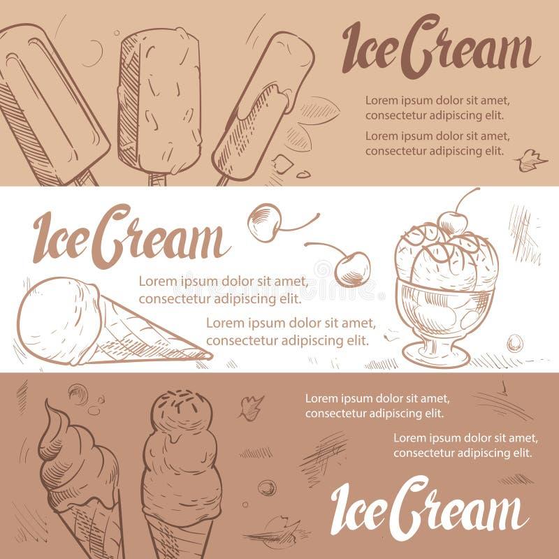 Modello delle insegne del gelato di schizzo royalty illustrazione gratis