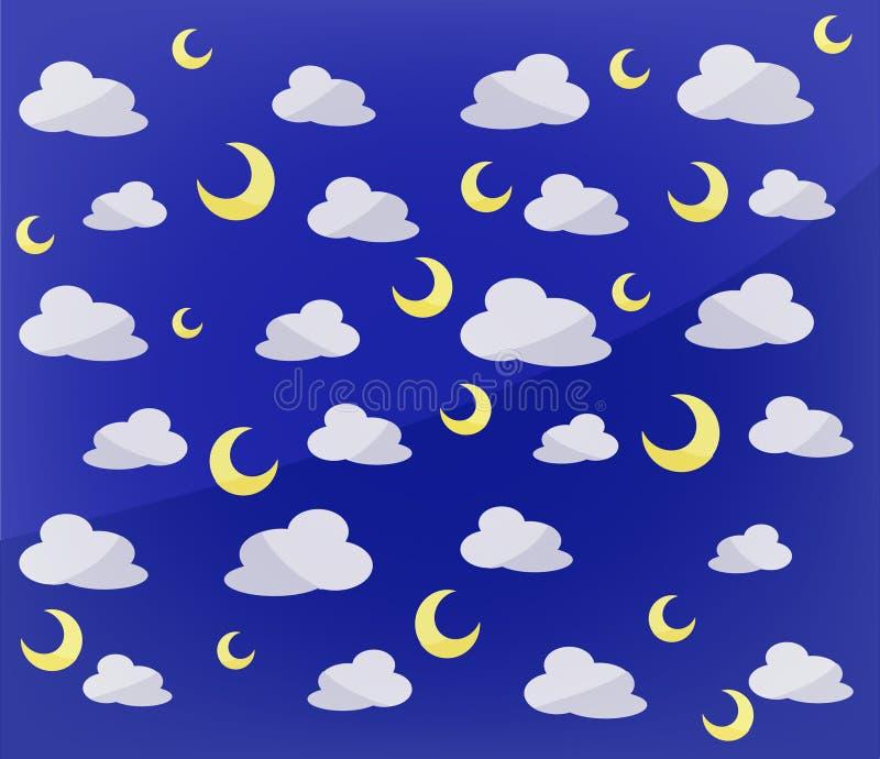 Modello delle lune e delle nuvole immagini stock