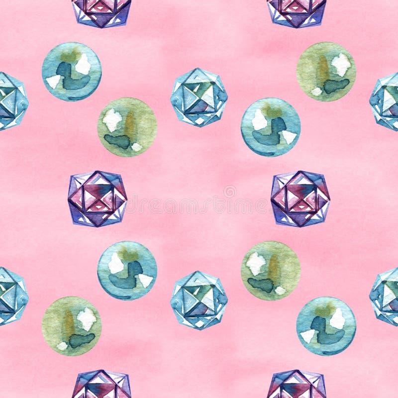 Modello delle perle della perla dell'acquerello E r illustrazione di stock