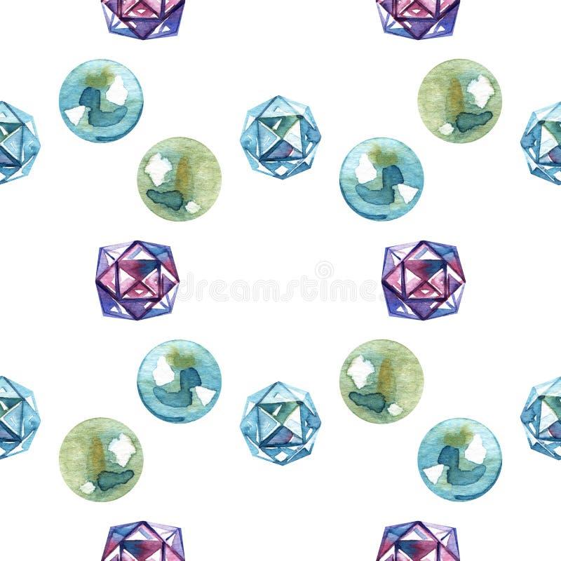 Modello delle perle della perla dell'acquerello E r royalty illustrazione gratis