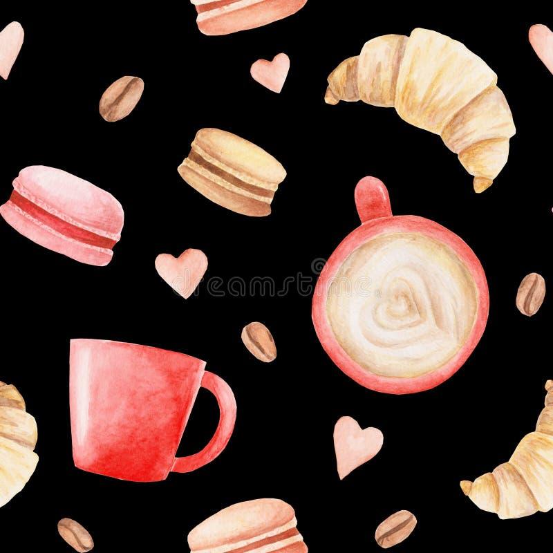 Modello delle tazze da caffè, dei maccheroni e dei cuori dell'acquerello Illustrazione per progettazione, la stampa o il fondo illustrazione di stock
