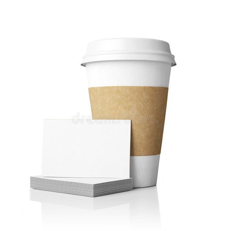 Modello delle tazze di carta e delle carte fotografia stock libera da diritti