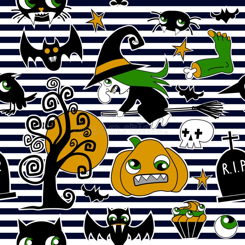 Modello delle toppe dell'elemento di Halloween: zucca, cranio, ragno, melma, gatto, pipistrello, osso illustrazione di stock