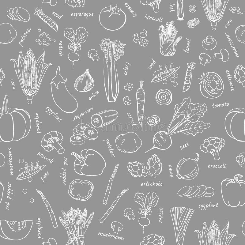 Modello delle verdure di vettore Fondo senza cuciture delle verdure immagine stock