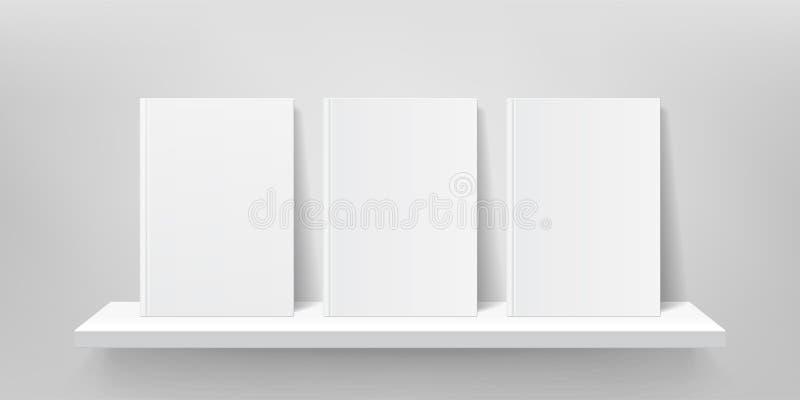 Modello dello scaffale di libro Parete dello scaffale per libri di vettore, copertine del libro, scaffali 3D del negozio della ga illustrazione di stock