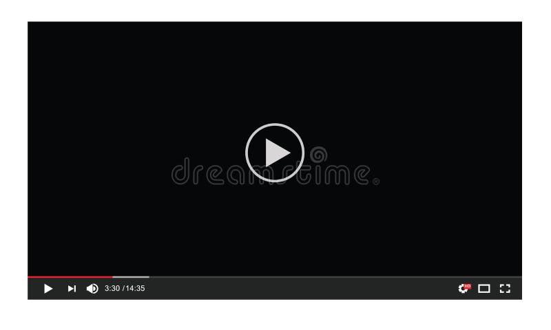 Modello dello schermo dell'interfaccia utente del riproduttore video di vettore illustrazione di stock