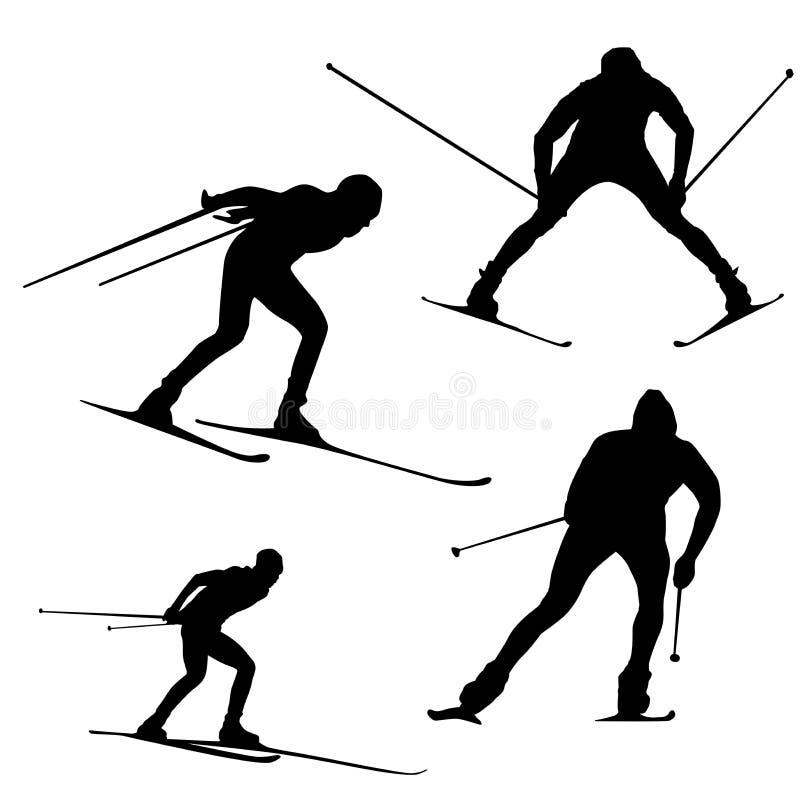 Modello dello sciatore del quadro televisivo su fondo bianco, siluetta illustrazione vettoriale
