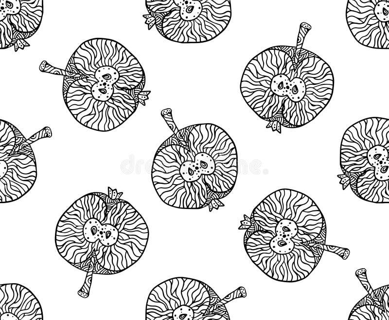 Modello dello zentangle di Apple per la stampa o la progettazione Illustrazione di vettore, nera su bianco illustrazione vettoriale