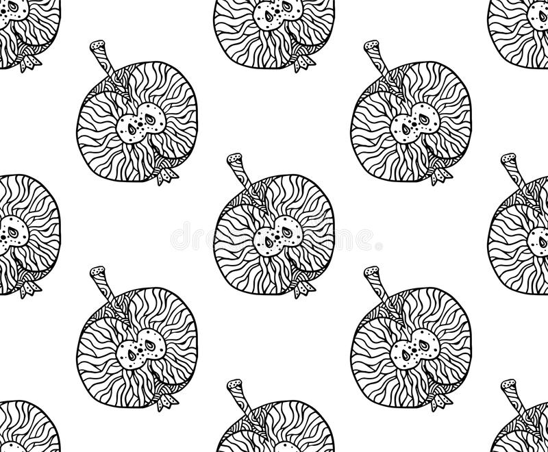 Modello dello zentangle di Apple per la stampa o la progettazione Illustrazione di vettore, nera su bianco illustrazione di stock