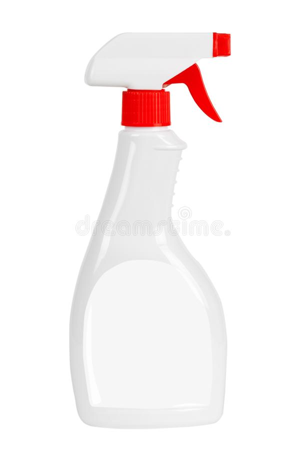 Modello detergente della bottiglia dello spruzzo di plastica in bianco bianco con il laboratorio in bianco immagini stock