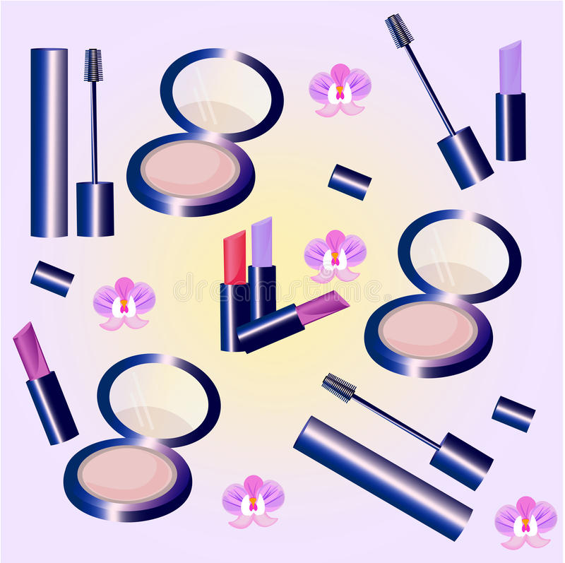 Modello determinato cosmetici di vettore La raccolta del profumo floreale, mascara, arrossisce, rossetto, balsamo di labbro Perfe illustrazione di stock