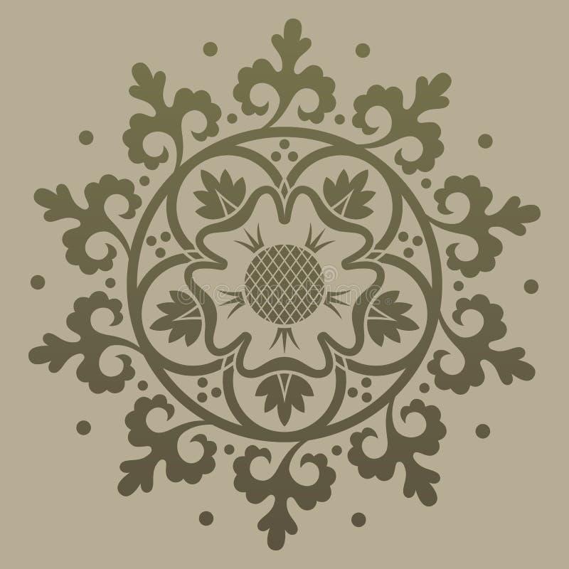 Modello di arrotondamento dell'oro ornamentale Illustrazione vettoriale illustrazione di stock
