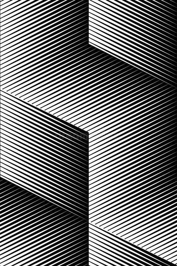 Modello di arte op di vettore Fondo ottico dell'estratto di illusione del cubo illustrazione di stock