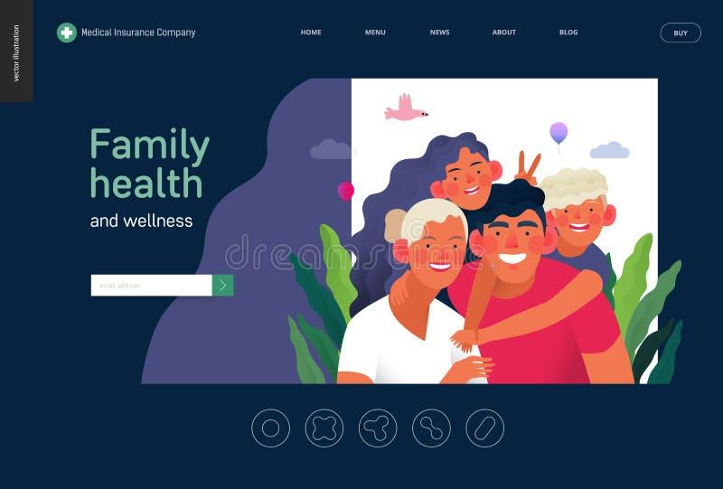 Modello di assicurazione-malattia - salute e benessere della famiglia royalty illustrazione gratis