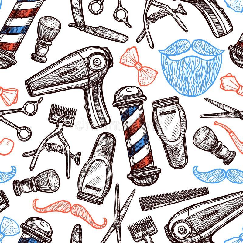 Modello di Barber Shop Attributes Doodle Seamless illustrazione vettoriale