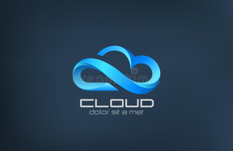 Modello di calcolo di progettazione di logo di vettore dell'icona della nuvola. illustrazione vettoriale
